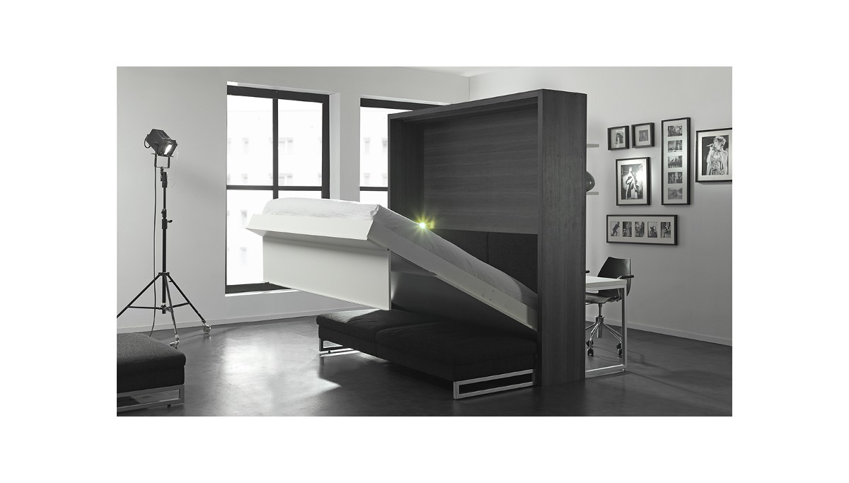 Boone lit escamotable loft ventura avec canap for Canape 180x200