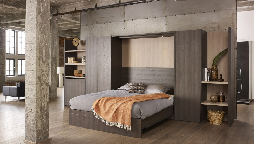 Bed 140x200 Hout.Boone Wallbed Base Selecta Vertical Closet Bed Space Saving